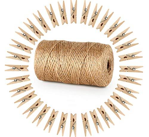Absofine 328 Pieds Ficelle de jute et 100 pièces Mini en bois naturel Craft Pinces à linge Craft...
