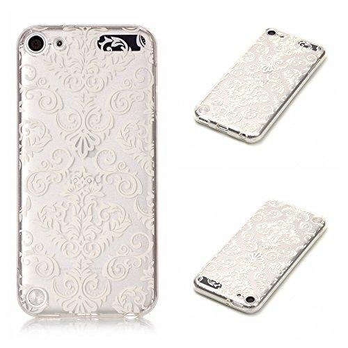 Qiaogle Telefon Case - Weiche TPU Case Silikon Schutzhülle Cover für Apple iPhone 6 Plus / iPhone 6S Plus (5.5 Zoll) - XS35 / Blau Schmetterling + Weiß Blume XS44 / Weiß Totem