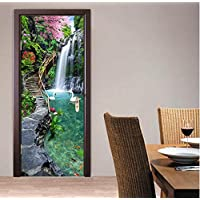 SZYUY Mural 3D Nature Landscape Waterfalls Door Wall Sticker Living Room Kitchen Pvc Self-Adhesive Waterproof Sticker On The Doors Wallpaper
