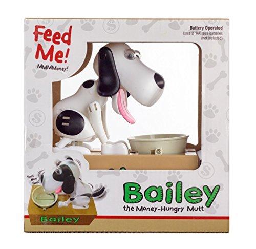 Leading-Edge-Novelty-Mechanical-Bailey-Money-Eating-Dog-Bank-White