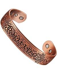 Wollet Brazalete antireuma, para hombre, cobre puro, ayuda natural para prevenir la artritis y el reuma, 17,78 cm