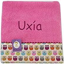 Toalla de ducha para bebé BORDADA CON EL NOMBRE, Modelo Búhos rosa
