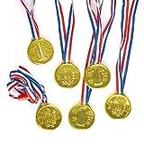 Medallas doradas de plástico unisex de 35 mm con cinta para regalar como motivación en concursos infantiles (pack de 6)
