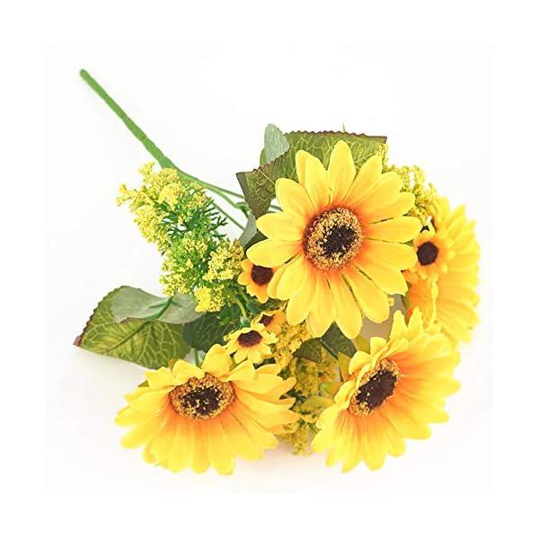Her Kindness Beautiful Artificial Sunflower Bush de Seda arreglo de Ramo Primavera Hongar Jardín Cocina jarrón…