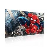 TapetoKids Leinwandbild Spiderman schwingt durch die Stadt - L - 80 x 60 cm
