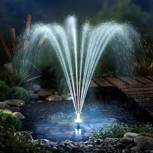 fam famgizmo LED Solarpumpe mit Akku 3W Power, Solar Wasserspiel Teichpumpe Fontäne Pumpe Springbrunnen, inkl. 4 Fontänenaufsätze, für Gartenteich Springbrunnen Licht Teichpumpe Gartenbrunnen -