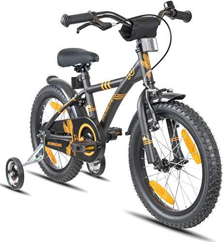 Prometheus Kinderfahrrad 16 Zoll Jungen M&aumldchen Schwarz Matt Orange ab 5 Jahre mit St&uumltzr&aumlder und R&uumlcktritt - 16zoll BMX Modell 2019