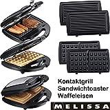 Melissa 16240093 3in1 Kontakt-Grill, Waffel-Eisen und Sandwich-Maker Multi-Toaster mit 3 Wechsel-Platten