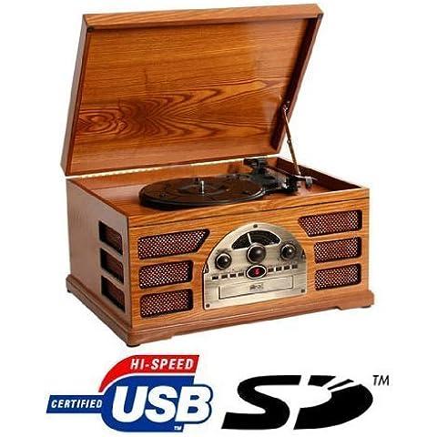 Retro Giradischi in legno 3 velocità AM / FM Radio CD con USB, SD Interfaccia per la riproduzione MP3 con altoparlanti integrati - (Faggio)