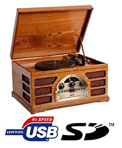 platine r tro en bois 3 vitesse avec enregistreur radio am fm lecteur de cd et interfaces usb. Black Bedroom Furniture Sets. Home Design Ideas