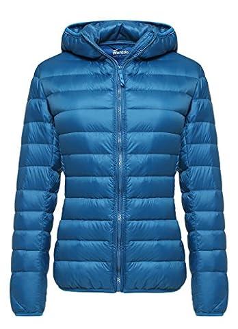 Wantdo Damen Verpackbar Leichte Daunenjacke mit Kapuzen,US- L / UK-XL / Asia,JP-2XL,Blau