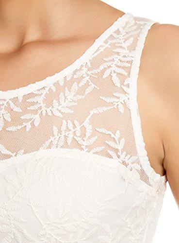 oodji Ultra Femme Top en Dentelle Blanc (1200N)