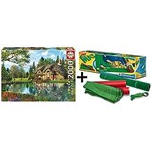 Pack Puzzle Educa 16774. La Casa del Lago. 2000 piezas + Tapete universal Puzzle Roll Clementoni 30297