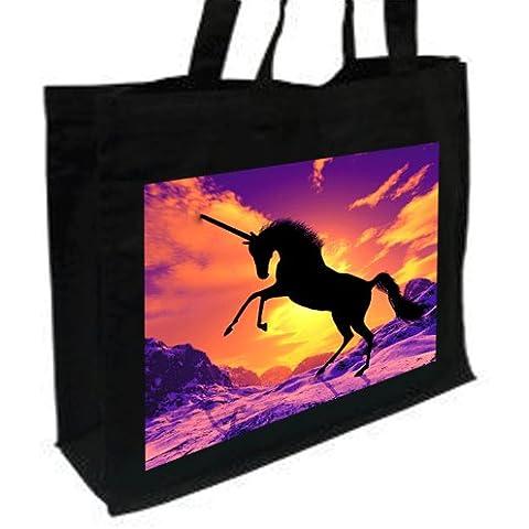 Nieve Unicorn, fantasía y Myth, algodón bolsa de la compra negro,
