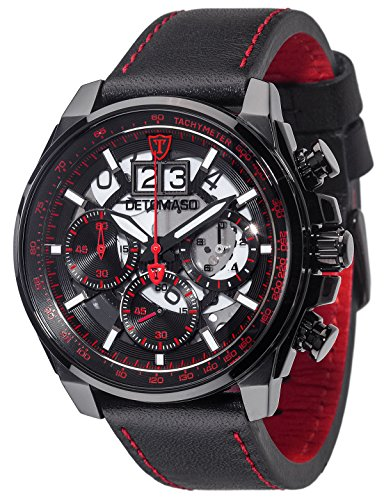 DETOMASO LIVELLO Herren-Armbanduhr Chronograph Analog Quarz schwarzes Lederarmband rotes Zifferblatt DT2060-B