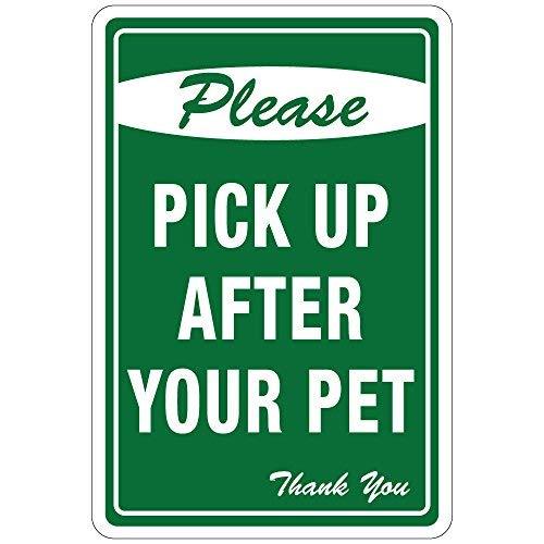 Kysd43Mill Vinyl-Aufkleber-Set Please Pick Up After Your Pet mit grünem Hintergrund, für OSHA Sicherheitsetiketten, 20 cm