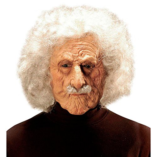 Amakando Maske Albert Einstein Opa Faschingsmaske mit Haaren Alter Mann Latexmaske Professor Karnevalsmaske Physiker Wissenschaftler Promi Halloweenmaske