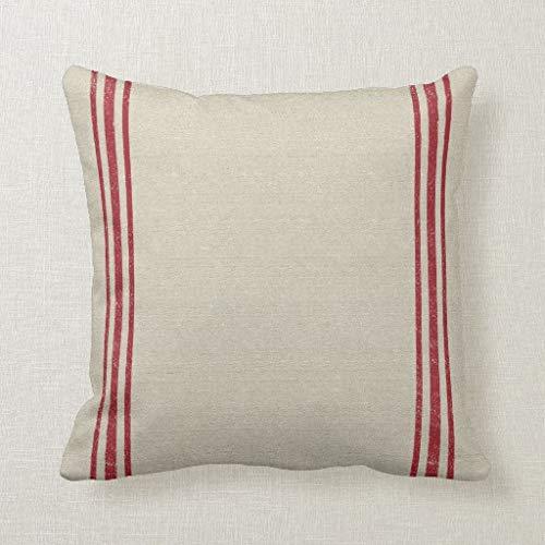 CELYCASY Funda de cojín Decorativa con diseño de Rayas Rojas para sofá, Dormitorio, cojín Lumbar...