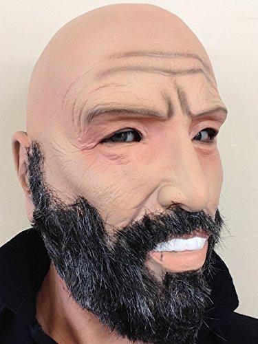 Glatzköpfig Alter Mann Latex Voller Kopf Maske Grau Bart Großvater (Bart Mann Alter Kostüm)