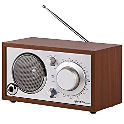 TZS First Austria - Retro Radio mit AUX-IN für Handy, AM/FM, Kristallklarer Klang, Bassreflexrohr, Nostalgieradio, Küchenradio Holz Gehäuse AM/FM