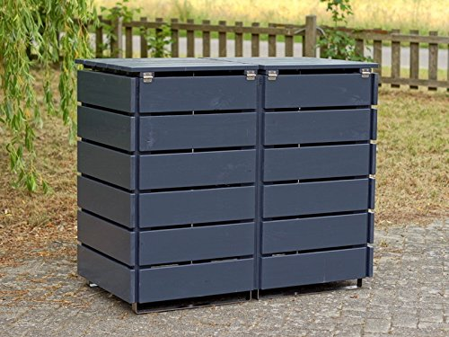 2er Mülltonnenbox / Mülltonnenverkleidung 240 L Holz, Deckend Geölt Anthrazit Grau - 4