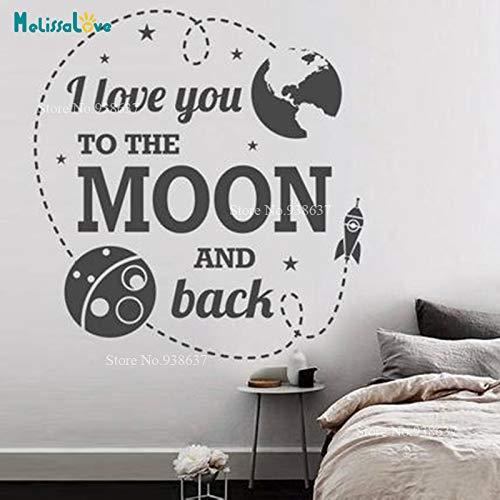 ich bis zum Mond und zurück Raum Thema Erde Rakete Baby Zimmer Kinderzimmer Dekor niedlich Zitat Vinyl Wandaufkleber 42x44cm ()