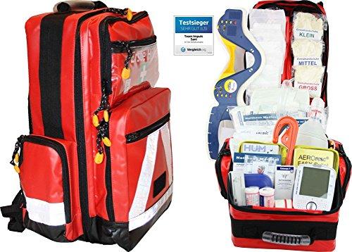 Erste Hilfe Notfallrucksack Betriebssanitäter aus Plane mit aut. Blutdruckmessgerät