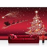 Fototapete 254x184 cm PREMIUM Wand Foto Tapete Wand Bild Papiertapete - Kindertapete Tapete Weihnachten Rentiere Schlitten Sterne Glitzer Kindertapete rot - no. 3063