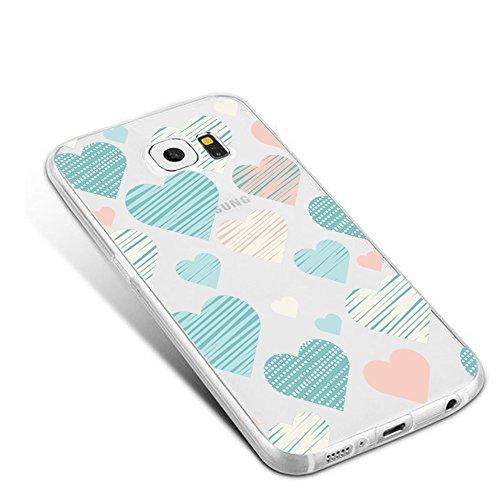 Galaxy S7 Edge / S6 Edge Plus Cover Custodia Transparente Silicone Pacyer® TPU Protettivo Case Antiurto Anti-Graffio Design Creativo frutta Amore blu