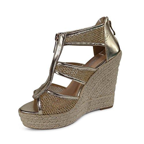 Damen Sandalen Keilabsatz Sandaletten ST127 High Heels Plateau Gold Glitzer