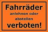Melis Folienwerkstatt Schild - Fahrräder abstellen - 15x10cm | Bohrlöcher | 3mm Hartschaum – S00050-046-E -20 Varianten