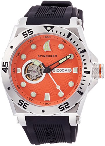 Spinnaker Overboard 1000m Helium Release Water Resistant Diver Men's Automatic Watch with Orange Dial Display on Black Silicon Strap SP-5023-04
