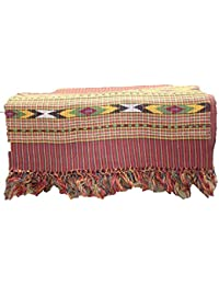 Genuine Hand Woven Kullu Wool Stole- Dark Red Colored With Beautiful Hand Made Embroidery For UNISEX