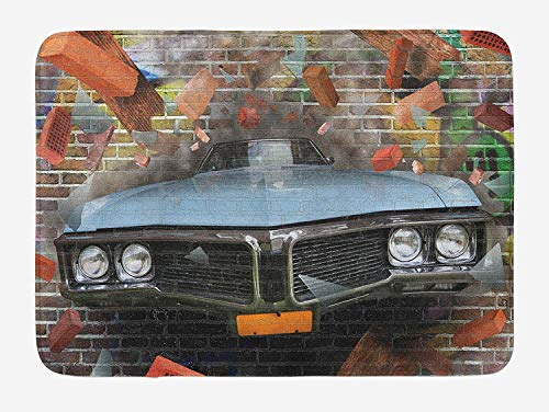 PdGAmats Cars Bath Mat, Graffiti Featured Graphic of Crashing Automobile on A Brick Wall Underground Street Style, 23.6 W X 15.7 W Inches - Brick Graphics Wall