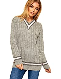 fcf17c2563b8b WearAll Ladies Knitted V Neck Cable Cricket Jumper Long Sleeve Womens  Striped Top Light Grey 12