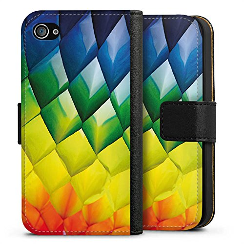 Apple iPhone X Silikon Hülle Case Schutzhülle Rauten Bunt Struktur Sideflip Tasche schwarz