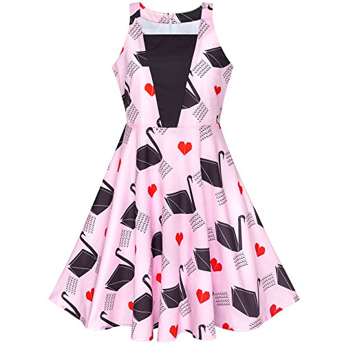Girls Dress Pink Swan Heart 2-in-1 Halter Dress Age 6-14 Years