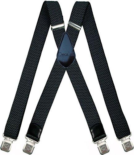Hosenträger für Herren breit extra starken 4 cm mit 4er Clips X-Form lange für Männer und Damen Hose alle Farben (Dunkelgrau)