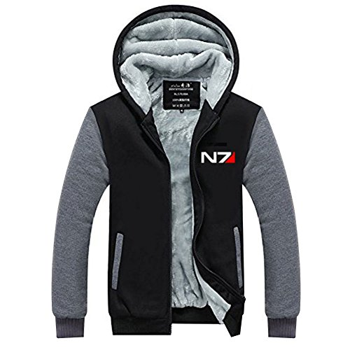 Xcoser Herren Kapuzen Pullover Winter Verdicken Plus Samt Jacke Mass N7 Sweatershirt Zip Hoodie Pulli für Effect Cosplay - Mass Effect Cosplay Kostüm