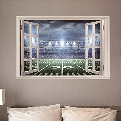 Fensterblick Leinwand Bild 3D Illusion - Fototapete - Poster - Fensterblick - Panorama Bilder - Dekoration - Stadion,100x70cm -