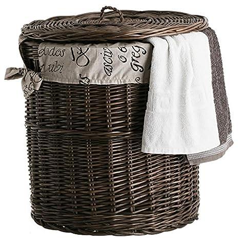 Panier à linge en osier avec doublure en coton, coffre ronde en osier, corbeille à linge