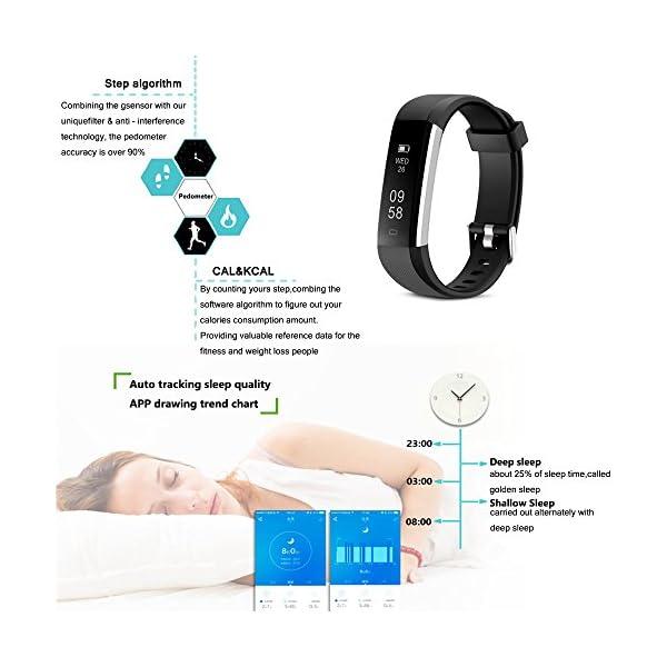 COOLEAD Fitness Tracker Pulsera Inteligente IP67 Waterproof Bluetooth Pulsera inteligente -Correa Libre 7