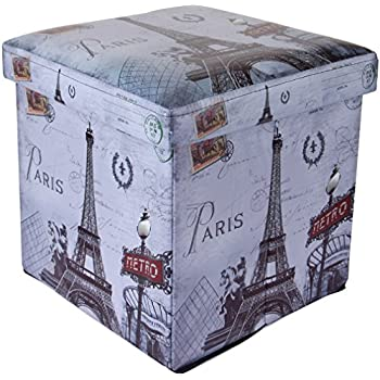 Uberlyfe Foldable Ottoman Storage Box Cum Stool - Vintage Paris (OTTO-994)
