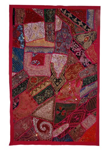 Indian Dekorative Hanging Wall Tapestry mit Pailletten, Perlen, Zari, Thread Stickerei & Multicolour Old Sari Patch Work, 152 X 102