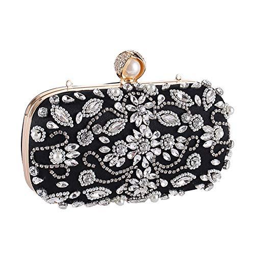 LXFENG Frauen, Die Handtasche, Hand-Wulstige Rhinestone-Abend-Abendessen-Beutel-Kleid-Partei-Nehmen-Beutel-Bankett-Beutel-Damen-Handtaschen-Goldketten-Schulter-Beutel Glätten (Farbe : B)