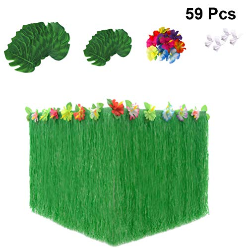 Amosfun 59 stücke Hawaiian Luau Party Supplies Set, Hawaiian Gras Tischrock Tropical Palm Monstera Blätter Hibiskus Blumen Tropical Party Dekoration