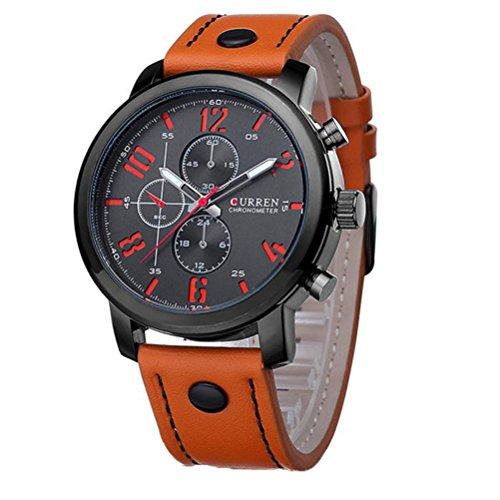 Orologi da polso, Oyedens Cuoio degli uomini dell'acciaio inossidabile di modo analogico da polso al quarzo (Arancio) - Automatico Blu Mens Watch