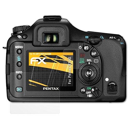 atFoliX Panzerfolie kompatibel mit Pentax K10D Schutzfolie, entspiegelnde und stoßdämpfende FX Folie (3er Set) (K10d Pentax Digitalkamera)