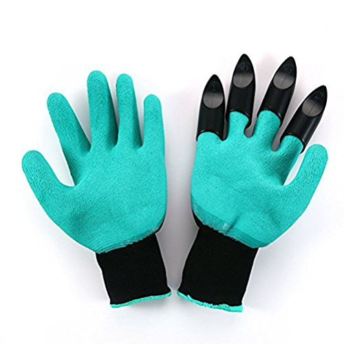 OUNONA 2 Paar Wasserdicht Gartenhandschuhe Gartenarbeit Handschuhe mit ABS-Kunststoff krallen für Haushalt und Garten Werkzeug handschuhe