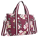 MOSISO 17,3 Pouces Housse Ordinateur Portable Toile Classique Rose Motifs Multifonctionnel Shopping Sac Main Sac Bandoulière Compatible MacBook, Notebook Sac Porté Épaule Femme, Vin Rouge